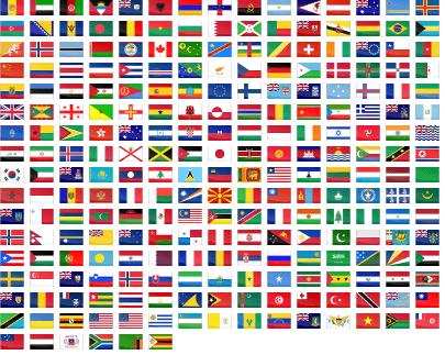 drapeau du monde avec leur nom